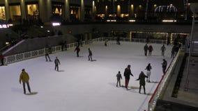 Ice skating Rockefeller center stock footage