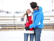 Ice skating romantic couple on date iceskating Stock Photos