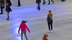 Ice skating scene on the ice rink stock video footage