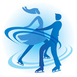 Ice Skating Skaters couple. Stylized Silhouette of a couple of ice skating skaters. Vector available Stock Photo