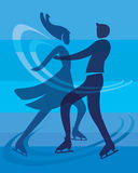 Ice skating skaters. Stylized Silhouette of a couple of ice skating skaters. Vector available Royalty Free Stock Photography