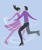 Ice skating skaters. Stylized Silhouette of a couple of ice skating skaters. Vector available Stock Photo
