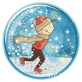 Ice Skating Snow Globe Stock Images