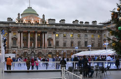 Ice Skating at Somerset House, London, England stock image