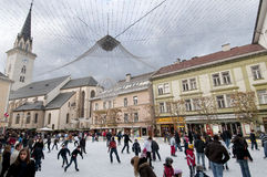 Ice skating. In the square in Villach, Kartner region, Austria Royalty Free Stock Image