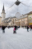 Ice skating. In the square in Villach, Kartner region, Austria Stock Photography