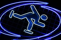 Ice skating symbol. Blue and radiant ice skating symbol Royalty Free Stock Image