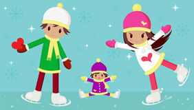 Ice skating. Vector illustration of young boy and girl in love, and a little child wondering how the girl can skate so beautiful. The boy is carrying a red heart Royalty Free Stock Image