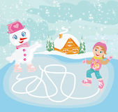 Ice skating in the winter day - Maze game for kids Royalty Free Stock Photography