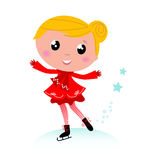 Ice skating winter little girl. Red. Figure skating child in christmas red costume. Vector cartoon Royalty Free Stock Photography