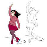Ice-skating young girl in pink and red. Young smiling brunette girl doing figure-skating in pink and red clothes in two versions: color and outline Stock Photos