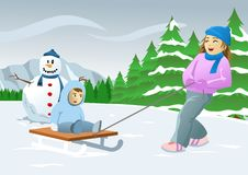 Ice Skiing Children. Children playing and ice skiing in the Christmas holidays. Image could be used in topics related to Christmas, winter, children, ice skiing Vector Illustration