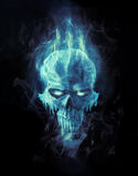 Ice skull. Doomed ice skull in cold flame Stock Photos