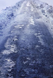 Ice slick road Royalty Free Stock Image