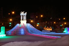 Ice slide with bright illumination Stock Photo