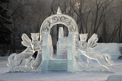 Ice slope for small children with mythical animals Stock Photos