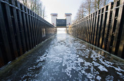 Ice in sluice. Ice in a sluice in a Dutch canal Stock Image