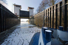 Ice in sluice Royalty Free Stock Images