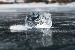 Ice. A small piece of ice melted on the ice field royalty free stock photos