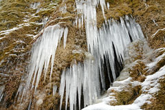 Ice and snow. Very cold near one of the waterfalls in mountains stock photography