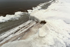 Ice and snow on Baltic sea shore in winter Stock Image