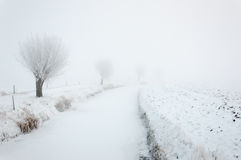 Ice and snow on an endless ditch Stock Photo