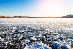 Ice and snow on the lake Royalty Free Stock Images