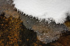 Ice and Snow in Montana Creek Royalty Free Stock Photos