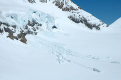 Ice and snow nearby Jungfraujoch in Alps in Switzerland Stock Photo