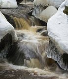Ice and snow over moving water. Ice and snow formations above and to the side of fast-flowing brown, peaty water on a river in the Derbyshire Peak District Stock Image