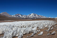 Ice or snow penitentes, San Francisco Mountain Pass, Chile Argentina Royalty Free Stock Image