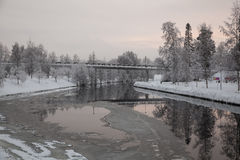 Ice and snow in the river Stock Photography