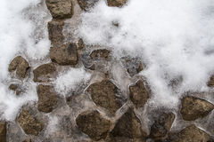 Ice and snow on the stone Stock Image