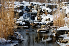 Ice, snow and stream water Royalty Free Stock Images