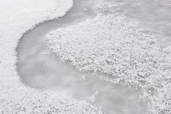 Ice and snow on the surface of the lake Royalty Free Stock Photography