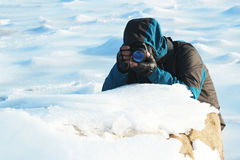 In ice and snow to take pictures Royalty Free Stock Images