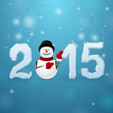 Ice 2015 with snowman. On blue background vector illustration