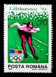 Ice Speed Skating, Winter Olympics, Lillehammer serie, circa 199. MOSCOW, RUSSIA - NOVEMBER 25, 2017: A stamp printed in Romania shows Ice Speed Skating, Winter Stock Photos