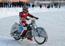 Ice speedway race. Tyumen. Russia. Tyumen, Russia - February 10, 2007: The city motorcycle sport championship. Race on Ice discipline royalty free stock photography