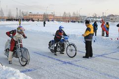 Ice speedway race. Tyumen. Russia. Tyumen, Russia - February 10, 2007: The city motorcycle sport championship. Race on Ice discipline stock images