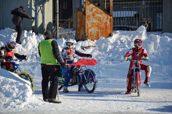 Ice Speedway, riders at the entrance track Royalty Free Stock Images