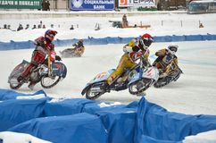 Ice speedway to compete in the bend treka race participants Royalty Free Stock Photos