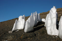 Ice spikes at the summit of mount Kilimanjaro Stock Image