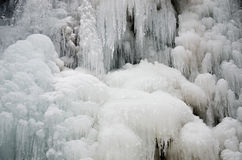 The ice stalactite ice. Frozen water in the forest royalty free stock photo