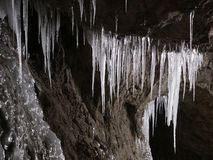 Ice stalactites in the cave Royalty Free Stock Image