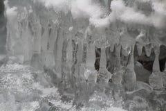 Ice stalactites, Slovak Paradise National park, Slovakia royalty free stock image