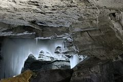 Ice stalactites, stalagmites and columns in cave. Ice bodies, ice feature stock photos