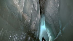 Ice stalactites and stalagmites in ice cave. stock footage