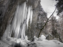 Ice stalagmites. Ice wall in Piatra Mare mountain (Eastern Carpathians Stock Photography