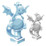 Ice statue of cute fat dragon in cartoon style Royalty Free Stock Images